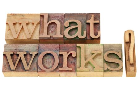 what works -  isolated question in vintage wood letterpress printing blocks Stock Photo - 9739592