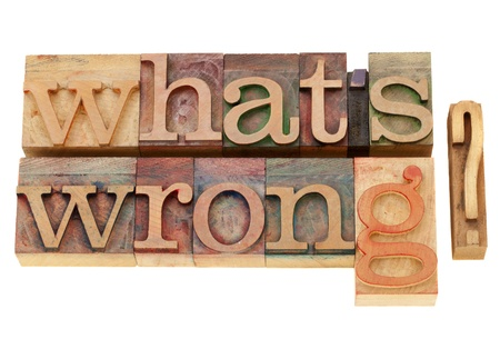inaccurate: what is wrong - isolated  question in vintage wood letterpress type
