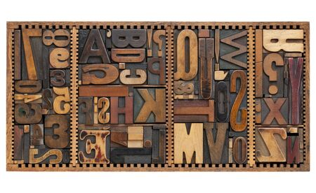 vintage letterpress printing blocks abstract with variety of  letters, numbers, punctuation signs in old box