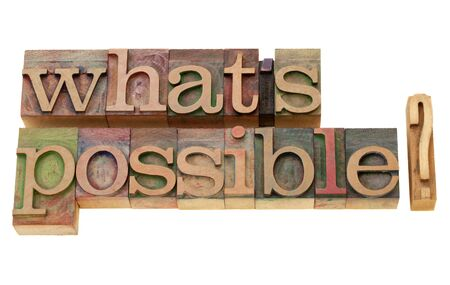 letterpress type: what is possible question - isolated words in vintage wood letterpress printing blocks Stock Photo
