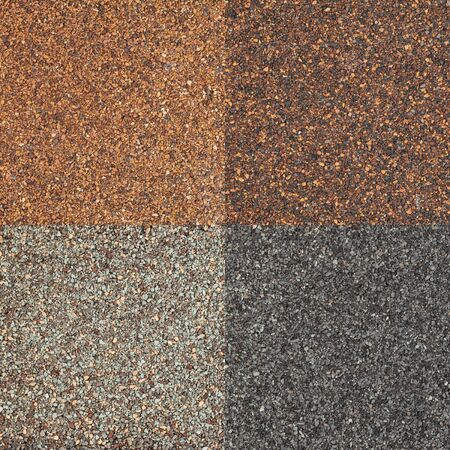 four textures of high impct asphalt roof shinglea in different tones of brown and gray color