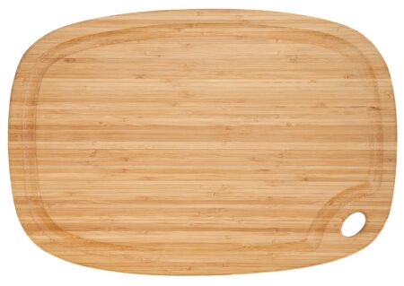 bamboo wood cutting board isolated on white photo