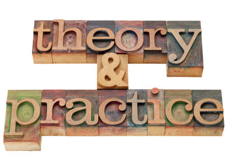 theory and practice - isolated words in vintage wood letterpress printing blocks