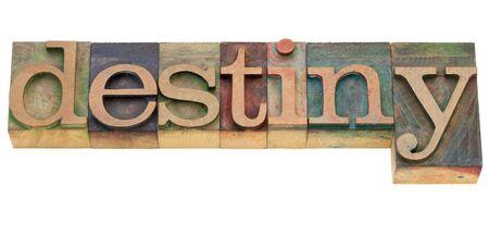 destin: destin - mot isol� dans des blocs de bois d'impression typographique de cru