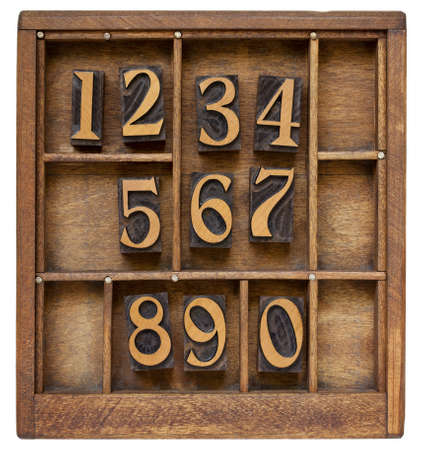 ten arabic numerals from zero to nine, vintage wood letterpress blocks stained by black ink in old typesetter case with dividers Stock Photo - 9834380