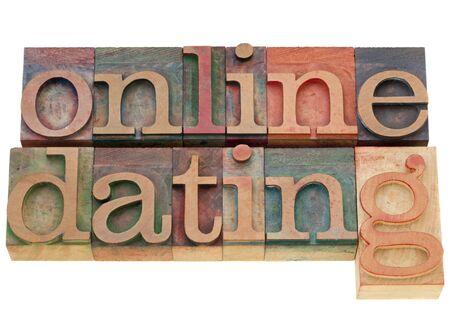 online dating - isolated words in vintage wood letterpress printing blocks
