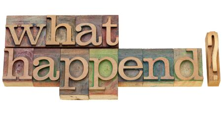 happening: what happened question - isolated text in vintage wood printing blocks Stock Photo