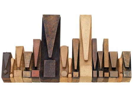 warning or alert  concept - a row of exclamation points - vintage wood letterpress printing blocks Stock Photo - 9968796
