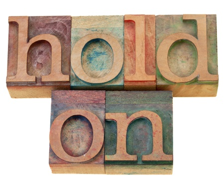 motivational concept - hold on - isolated phrase in vintage wood letterpress type