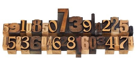 numerical concept - two rows of random numbers - isolated vintage wood letterpress printing blocks photo