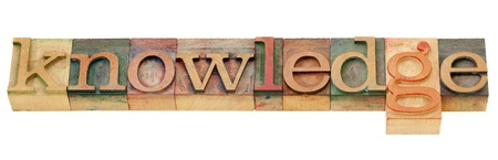 knowledge  - isolated word in vintage wood letterpress printing blocks photo