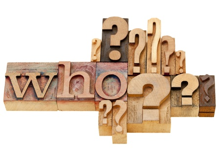 who: who question with multiple question marks - isolated vintage wood letterpress printing blocks