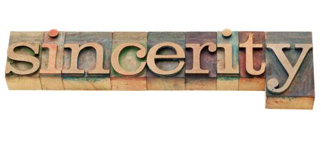 sincerity - isolated word in vintage wood letterpress printing blocks Stock Photo - 10051532