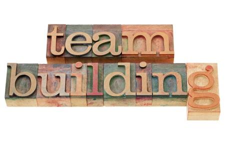 team building: team building - isolated words in vintage wood letterpress printing blocks