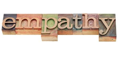 empatia: la empatía - la palabra aislada en bloques de madera de época impresión tipográfica