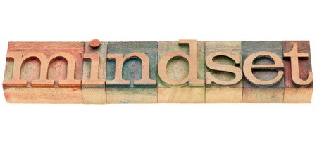 mindset  - isolated word in vintage wood letterpress printing blocks Stock Photo - 10051540