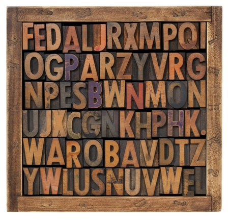 letterpress letters: random vintage letterpress printing blocks  (uppercase letters) in a small wooden box isolated on white