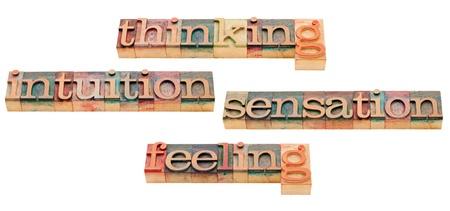 introduced: el pensamiento, el sentimiento, la intuici�n y la sensaci�n - cuatro tipos de personalidad cl�sicos introducidas por Carl Jung - aislada texto en bloques de madera de �poca impresi�n tipogr�fica Foto de archivo