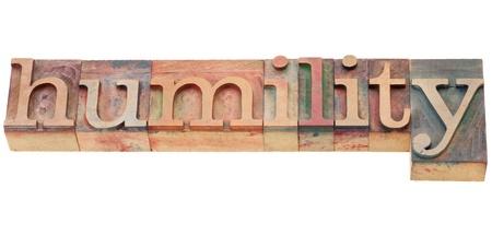 humility: parola isolata in blocchi d'epoca in legno di stampa tipografica