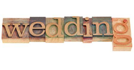 wedding - isolated word in vintage wood letterpress printing blocks