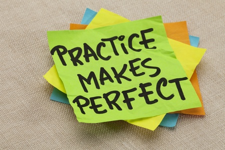 practice makes perfect - a motivational slogan on a green stocky note Stock Photo - 10127842