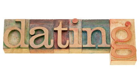 letterpress  type: dating - isolated word in vintage wood letterpress type
