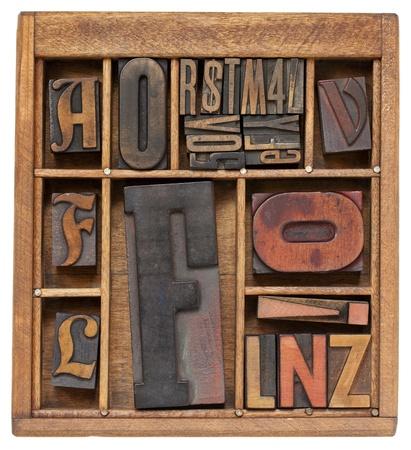 estuche: tipografía antiguo bloques de impresión