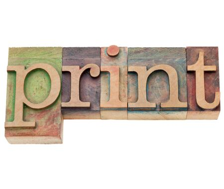 letterpress: print  - isolated word in vintage wood letterpress printing blocks