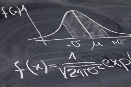 estadisticas: Gauss, campana o curva de distribuci�n normal con la ecuaci�n esbozado con tiza blanca sobre una pizarra Foto de archivo