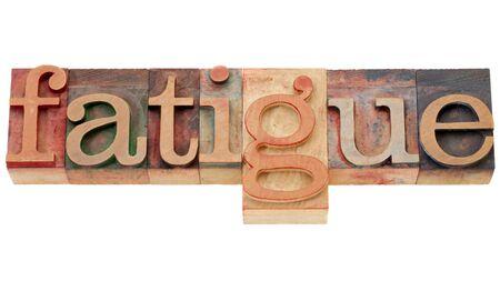 weakening: fatigue - isolated word in vintage wood letterpress printing blocks Stock Photo