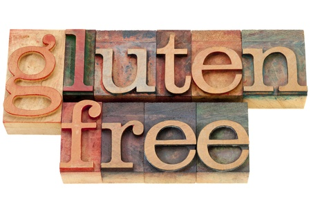 gluten free diet concept - isolated words in vintage wood letterpress printing blocks Stock Photo - 10444324