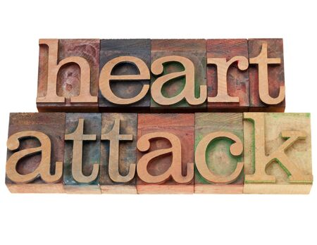 heart attack - isolated words in vintage wood letterpress printing blocks Stock Photo - 10444325