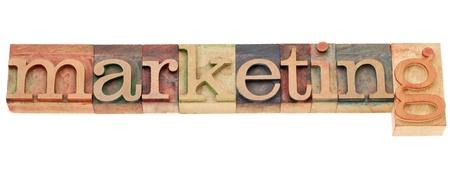 letterpress words: marketing - isolated word in vintage wood letterpress printing blocks