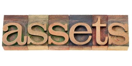 assets - isolated word in vintage wood letterpress printing blocks