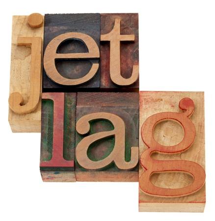 Jet lag - parole isolate in blocchi d'epoca in legno di stampa tipografica Archivio Fotografico - 10493240