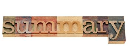summary: summary - isolated word in vintage wood letterpress printing blocks
