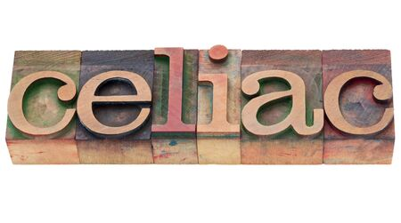 celiac: celiac disease concept (intolerance of gluten) - isolated word in vintage wood letterpress type Stock Photo