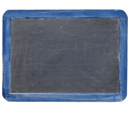old blank slate blackboard in blue grunge wood frame, isolated on white Stock Photo - 10567455