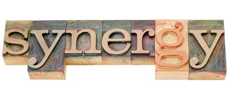synergy - isolated word in vintage wood letterpress printing blocks