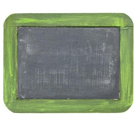 blank slate: vintage blank slate blackboard with white chalk dust and texture, grunge green wood frame Stock Photo