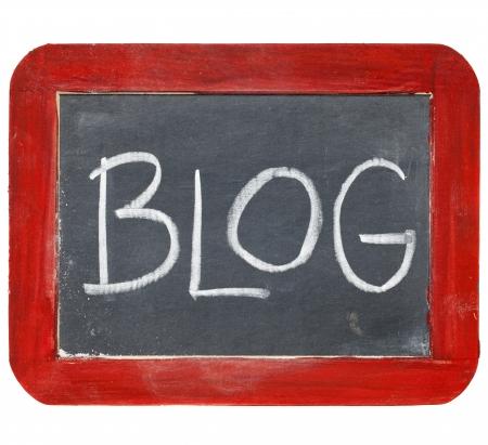 blog sign - white chalk handwriting on old slate blackboard with grunge red wood frame 版權商用圖片
