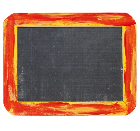 blank slate: blank sign - a small slate blackboard in a rough red and yellow wood frame isolated on white