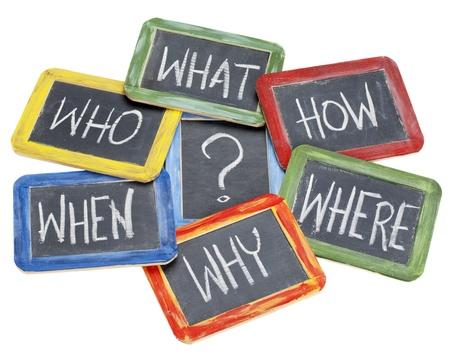wat, wanneer, waar, waarom, hoe, wie vragen - wit krijt handschrift op vintage leisteen schoolborden in kleurrijke houten frames