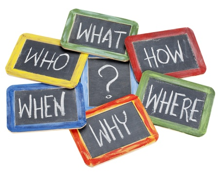 asking question: what, when, where, why, how, who questions - white chalk handwriting on vintage slate blackboards in colorful wood frames