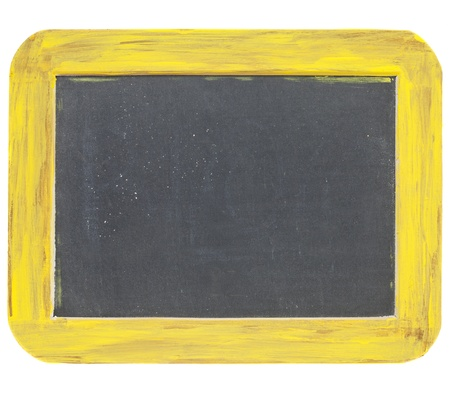 blank sign - a small slate blackboard in a rough dark yellow and brown wood frame isolated on white Stock Photo - 10743749
