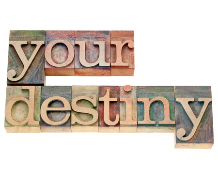 your destiny - isolated text in vintage wood letterpress type