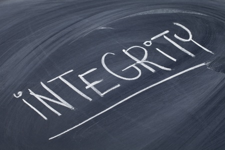 virtue: integrity word in white chalk handwriting on blackboard