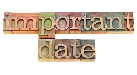 important: important date - isolated text in vintage wood letterpress printing blocks Stock Photo