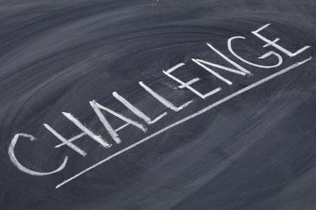 challenge word in white chalk handwriting on blackboard Banco de Imagens - 10863735