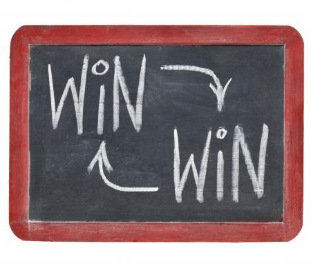 ganar: ganar-ganar estrategia de concepto - por escrito con tiza blanca sobre una pizarra peque�a pizarra aislado en blanco